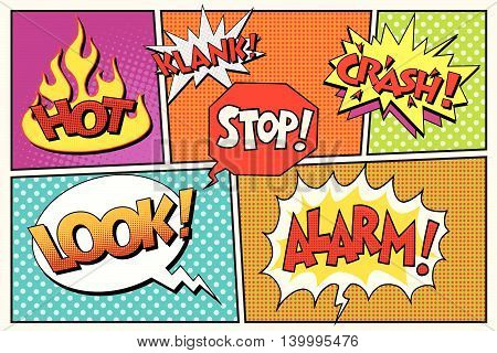 Page comic book lettering cloud bubbles pop art retro vector illustration. Hot look alarm stop klank crash