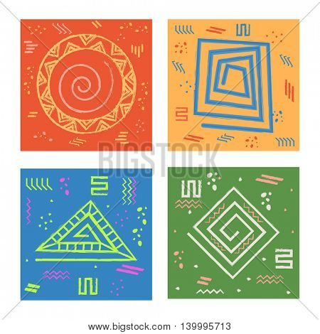 Set of four colorful cards with different creative geometric abstract patterns, Creative hand drawn vector illustration.