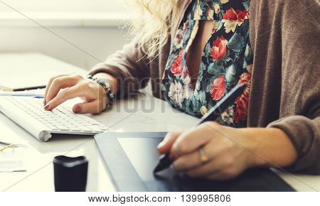 Woman Working Graphic Designer Creativity Editor Ideas Concept
