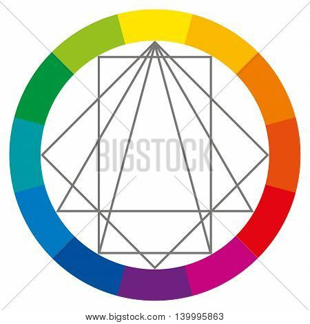 Color wheel showing complementary colors that are used in art and paintings. Square, rectangle and two triangles can be turned around to show possible color combinations. Color theory. Illustration.