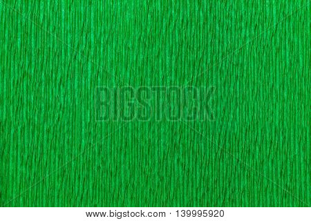 Textural bright green background of wavy corrugated paper close-up. Structural crepe cardboard macro shooting.