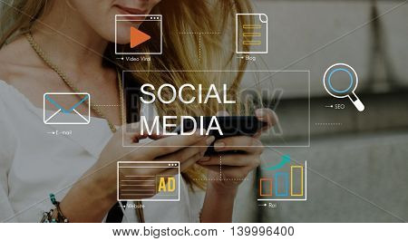 Social Media Advertisement Connection Concept