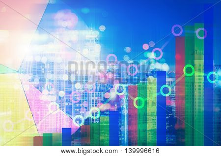 Double explosure of businesss charts and financial district of megapolis city.
