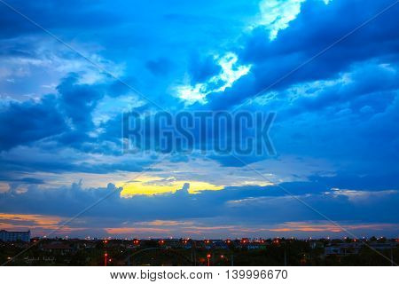Beautiful sunset sky with multicolor clouds after strom. Amazing sunset cloud. Twilight sky after sunset.