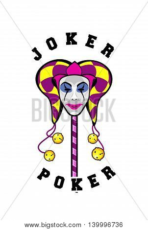vector illustration of a joker in a mask on a white background playing card