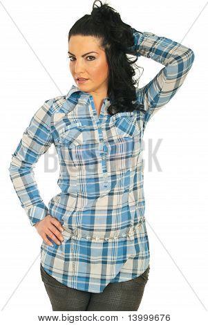 Beauty Model In Blue Shirt