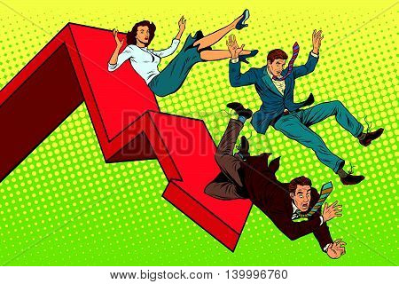 Business men and woman financial collapse pop art retro vector illustration