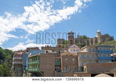 View on Narikala fortress from Abanotubani Tbilisi Georgia. Old town.