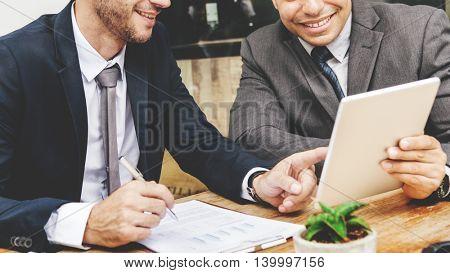 Businessmen Working Happy Tablet Paperwork Concept