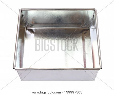 Empty rectangle tin tray for bakery on white background.