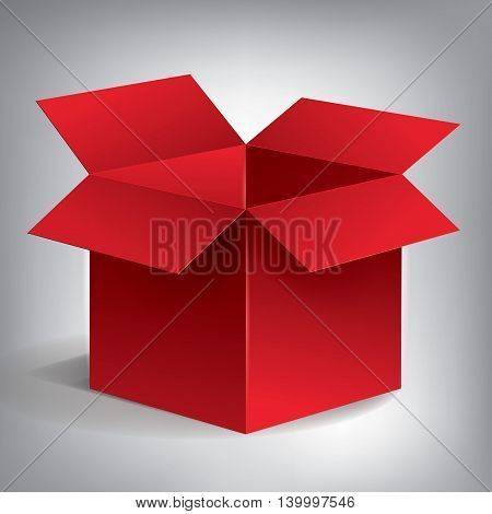 Open volume red box, abstract object, vector design