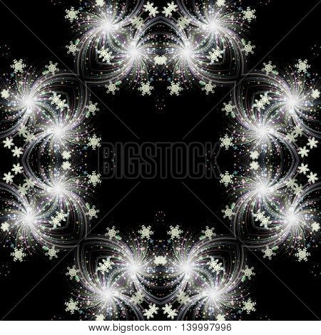 Abstract winter pattern with snowflakes on a black background. Stylized fireworks with rays, light reflections and snowflakes