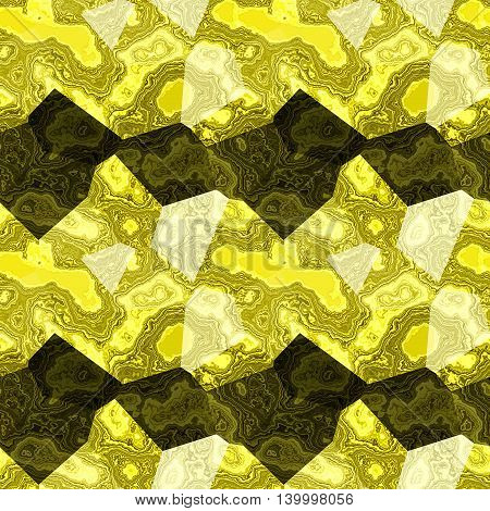 Abstract seamless yellow, white and black marble background of polygonal mottled pattern. Layered veined marbled texture with yellow and black pattern
