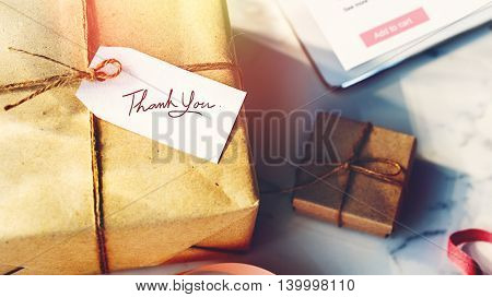 Present Thank You Message Note Concept