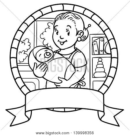 Emblem of funny smiling mother or nanny or mother with a baby. Profession ABC series. Children vector illustration.