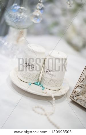 Wedding decoration, salt and pepper shakers for decoration