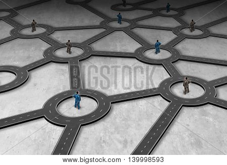 Logistics network management as a group of connected people in a linked road system as a global distribution structure in a 3D illustration style.