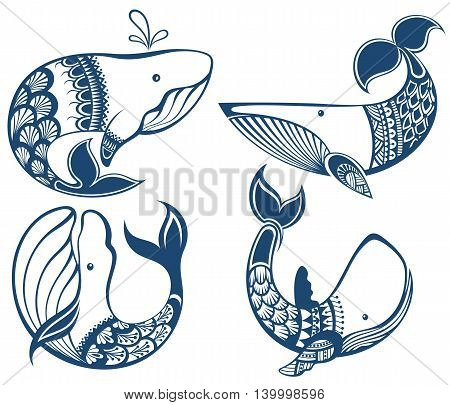 Big set of cartoon cute and funny whales, sea animals set, sea creatures collection