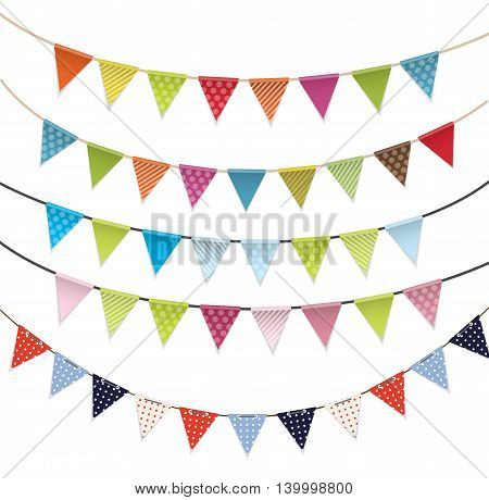 Party Flags Set Collection Vector Illustration EPS10