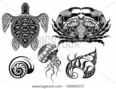 Crustacean Vector illustrations. Sea life elements for your design