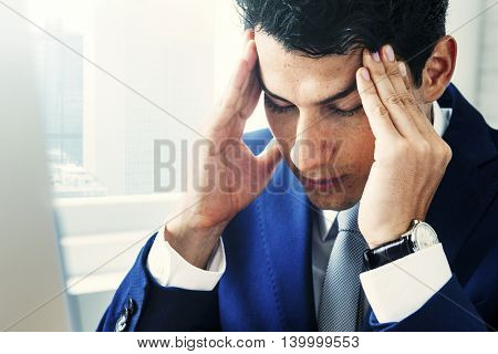 Businessman Stress Gesture Office Concept