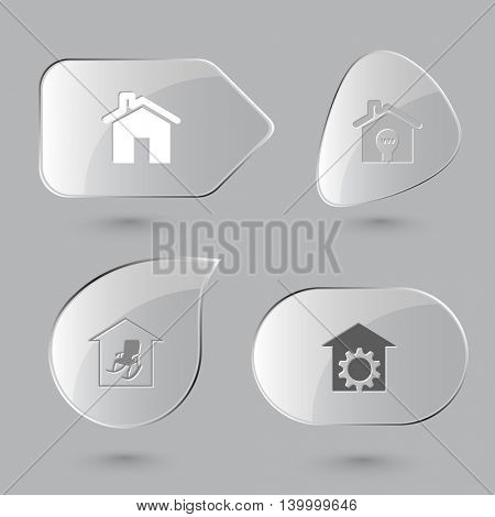 4 images: light in home, comfort, repair shop. Home set. Glass buttons on gray background. Vector icons.