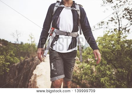 Backpack Cliff Explore Hike Path Trekking Trip Concept
