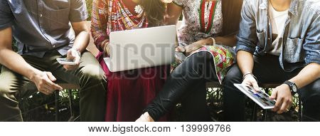 Friends Hangout Technology Gadgets Concept