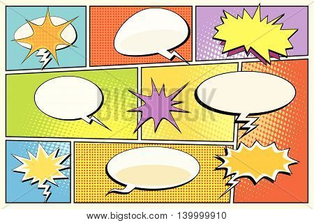 Comic book page explosions, clouds and bubbles pop art retro vector illustration