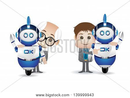 two young and old scientist with blue robot