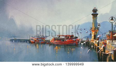 fishing boat in harbor at morningwatercolor painting style