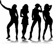 image of foursome  - A group of four sexy women in black silhouette with a shadow - JPG