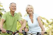 Постер, плакат: Пожилые пары езда велосипеды