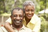 stock photo of african american woman  - Senior Couple Relaxing In Garden - JPG
