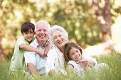 stock photo of 70-year-old  - Grandparents In Park With Grandchildren - JPG