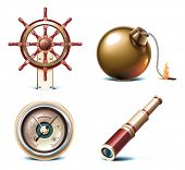 stock photo of barometer  - Vector marine travel icons - JPG