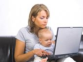 image of little kids  - Mother and son in suits working on laptop - JPG
