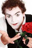 picture of clown rose  - mime holding a rose  - JPG