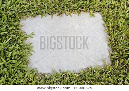 Flag Stone Plaque Embedded In Lawn