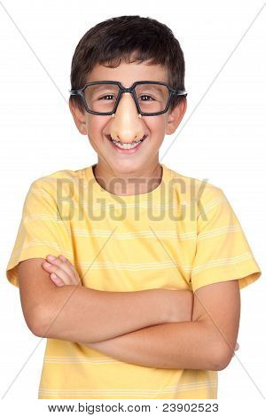Funny Child With Glasses And Nose Joke