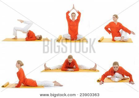 Collage Yoga Photos. Young Woman Doing Yoga Exercises