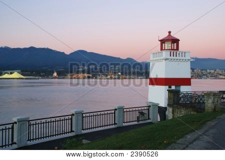 Brokton Point Lighthouse, Stanley Park, In The Evening Twilight