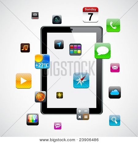 Vector Concept communicator with app icons.