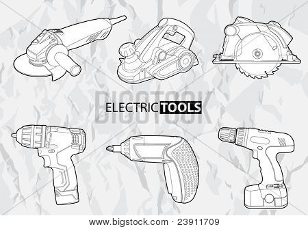 Vector electric tools set on gray background