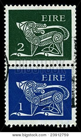 IRELAND-CIRCA 1971:A two stamp printed in IRELAND shows image of