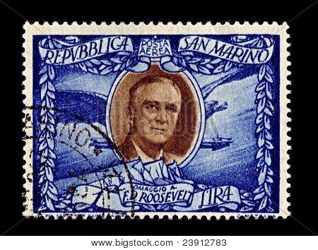 SAN MARINO-CIRCA 1947:A stamp printed in San Marino shows image of Franklin Delano Roosevelt the 32nd President of the United States  and a central figure in world events during, circa 1947.