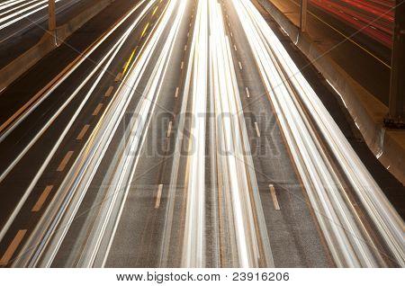 Nightshot of oncoming traffic