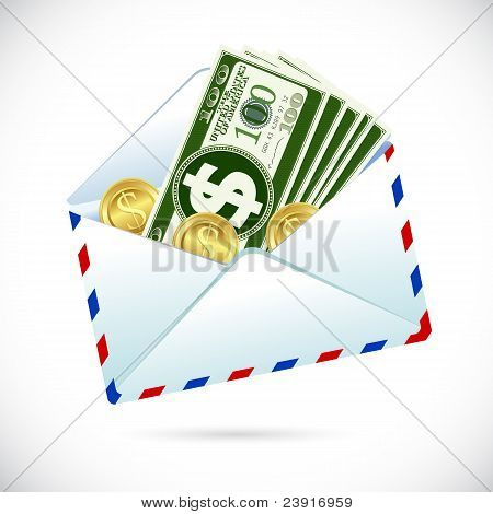 dollar note and coin in envelope