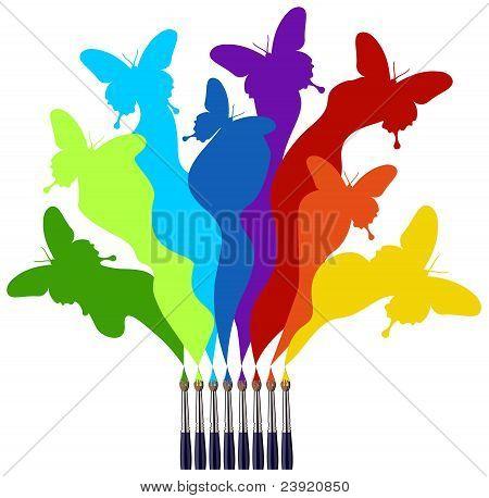 Pinceles y mariposas de colores arco iris