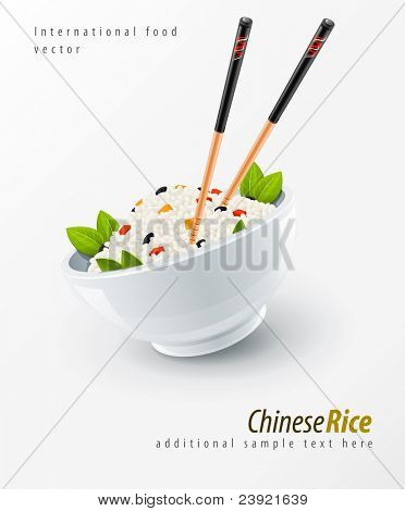 rice in plate with chinese chopsticks vector illustration
